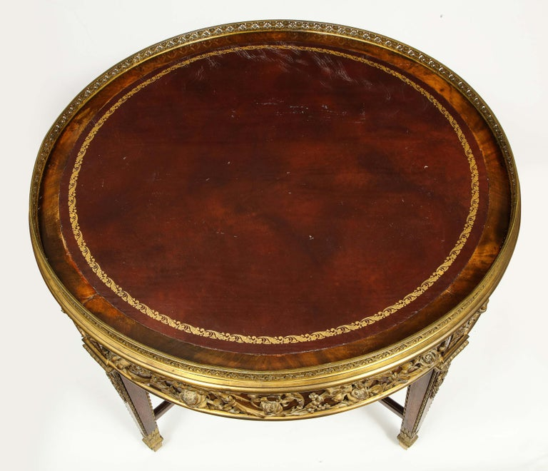 Exceptional Quality French Ormolu-Mounted Mahogany Center Table, Attrib F. Linke For Sale 5