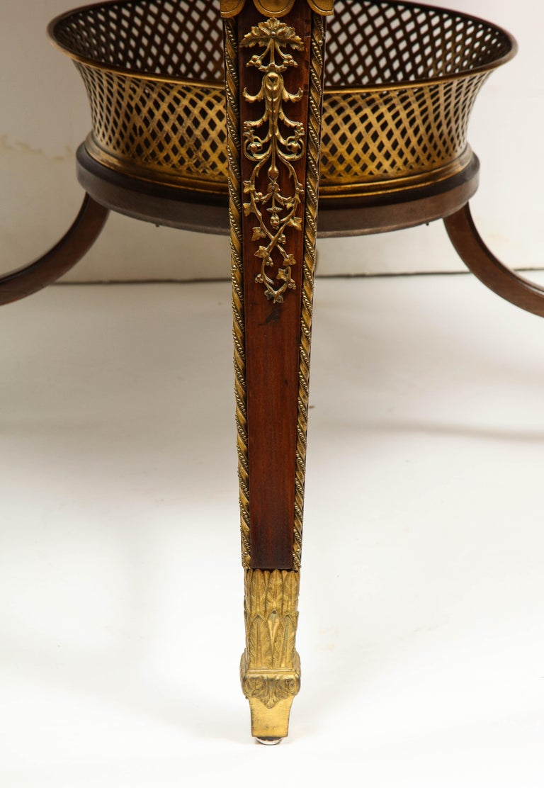 Exceptional Quality French Ormolu-Mounted Mahogany Center Table, Attrib F. Linke For Sale 10