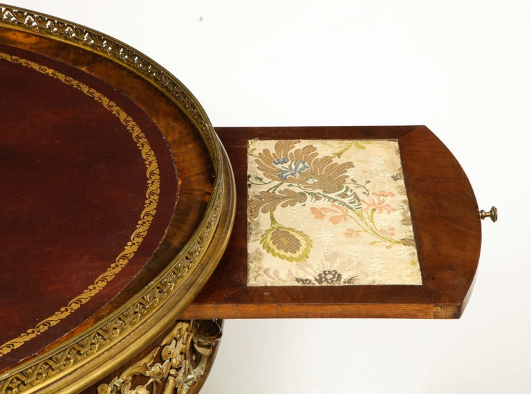 Exceptional Quality French Ormolu-Mounted Mahogany Center Table, Attrib F. Linke For Sale 13