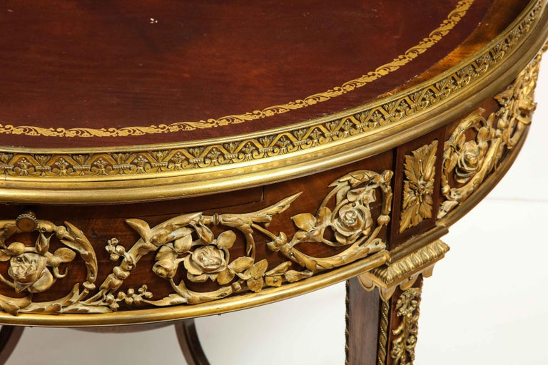 19th Century Exceptional Quality French Ormolu-Mounted Mahogany Center Table, Attrib F. Linke For Sale