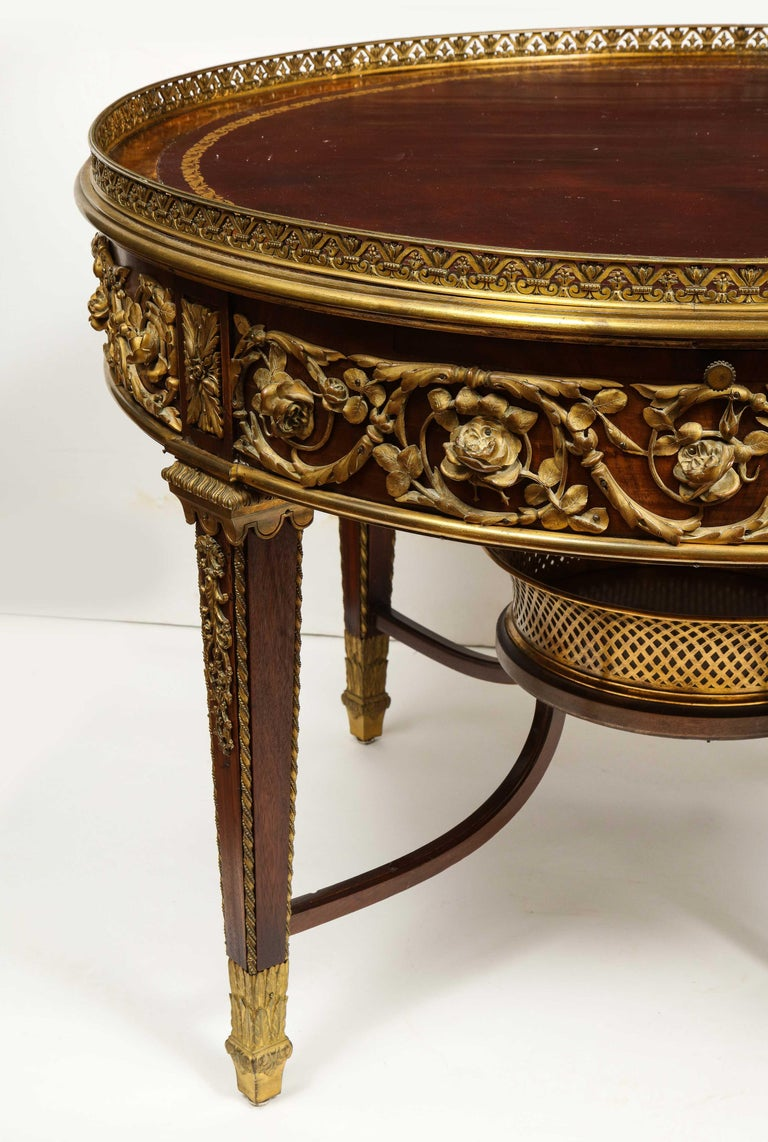 Bronze Exceptional Quality French Ormolu-Mounted Mahogany Center Table, Attrib F. Linke For Sale