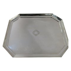 Exceptional Quality, Hand Wrought Octagonal Deco Sterling Silver Tray