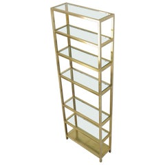 Exceptional Quality Mid Century Brass Etagere Thick Glass Shelves