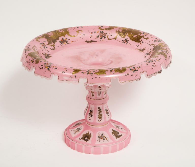 Exceptional Quality Pink Triple Overlay Enameled Bohemian Glass Cake Stand For Sale 8