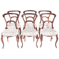 Exceptional Quality Set of 6 Antique Victorian Carved Rosewood Dining Chairs