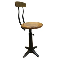 Exceptional Quality Singer Industrial Stool with Back Rest Original Condition