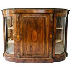Exceptional Quality Victorian Burr Walnut Inlaid Credenza