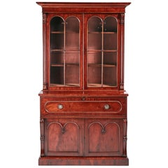 Exceptional Quality William IV Mahogany Secretaire Bookcase