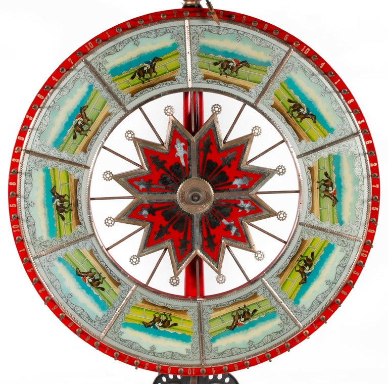 Exceptionally graphic and colorful race horse game wheel, made by H.C. Evans, Chicago, circa 1920-1950