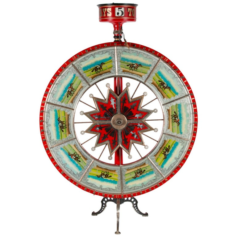 Exceptional Race Horse Game Wheel by HC Evans, Chicago, circa 1920-1950 For Sale