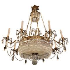 Exceptional Regency Gilt Bronze Cut Crystal Center Bowl Empire Baltic Chandelier