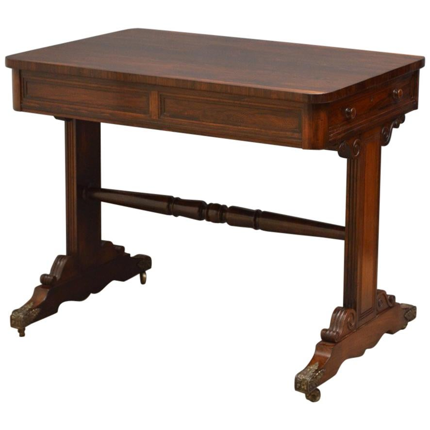 Exceptional Regency Rosewood Library Table of Small Proportion