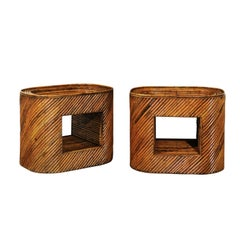 Exceptional Restored Pair of Bamboo Display End Tables, circa 1975