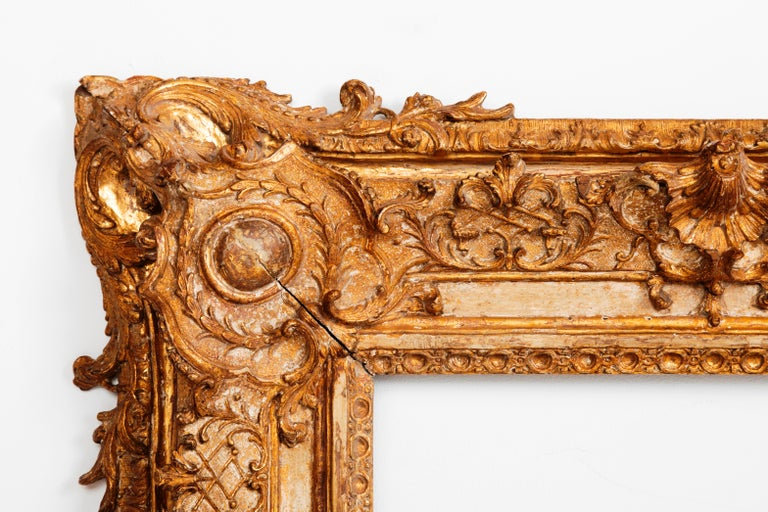 Carved Exceptional Royal Quality French Regence Frame, Mirror, France, 1720s For Sale