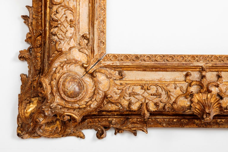 Exceptional Royal Quality French Regence Frame, Mirror, France, 1720s In Good Condition For Sale In Saint-Ouen, FR