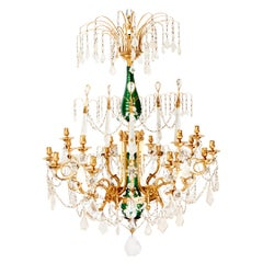 Exceptional Russian Bronze Rock Crystal Chandelier, Mid-19th Century