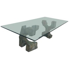 Exceptional Sculpted Pedestals in Bronze, Modern Dining Table by Valenti, Spain