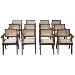 Exceptional Set of 12 P. Jeanneret Floating Back Armchairs (19 Chairs available)