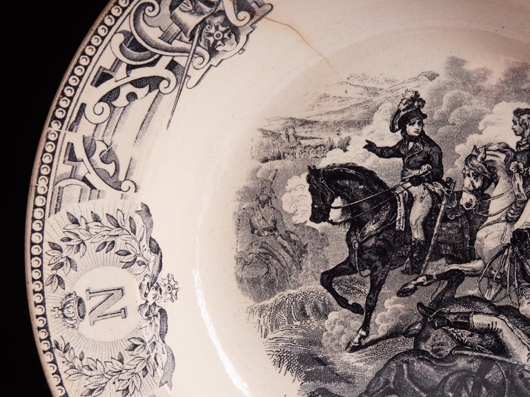 Ceramic Exceptional Set of 1890s White Faïence Plates with Black Designs For Sale