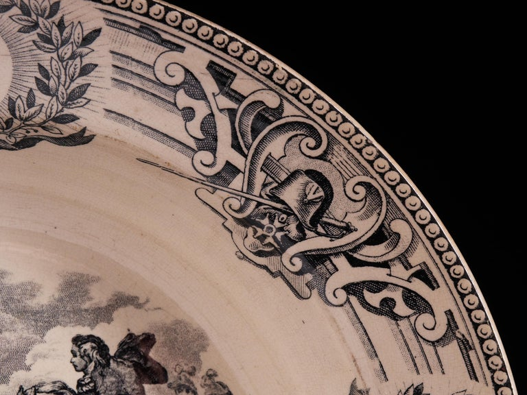 Exceptional Set of 1890s White Faïence Plates with Black Designs For Sale 1