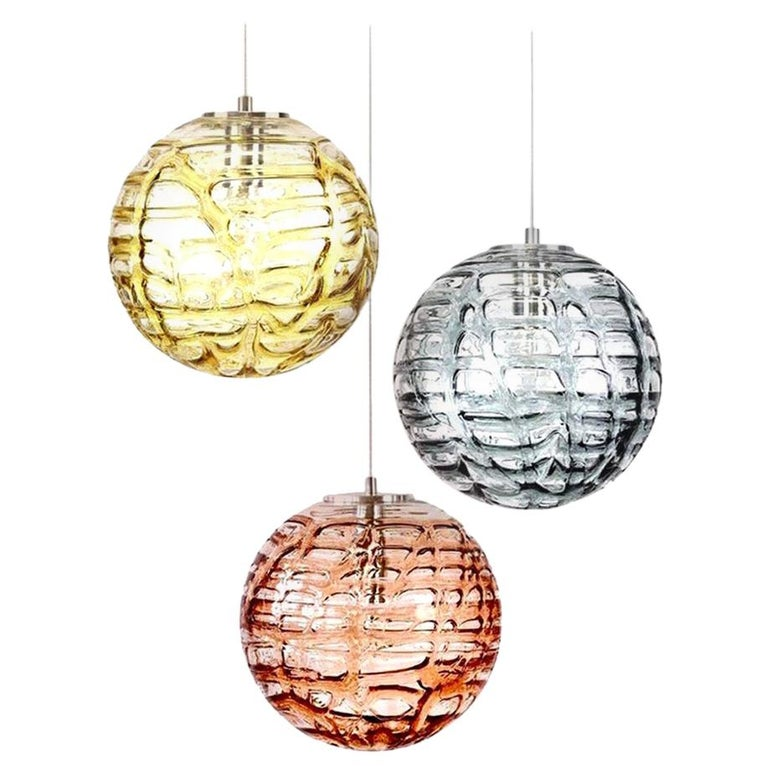 Exceptional Set of 3 Murano Glass Pendant Lights Venini Style, 1960s For Sale