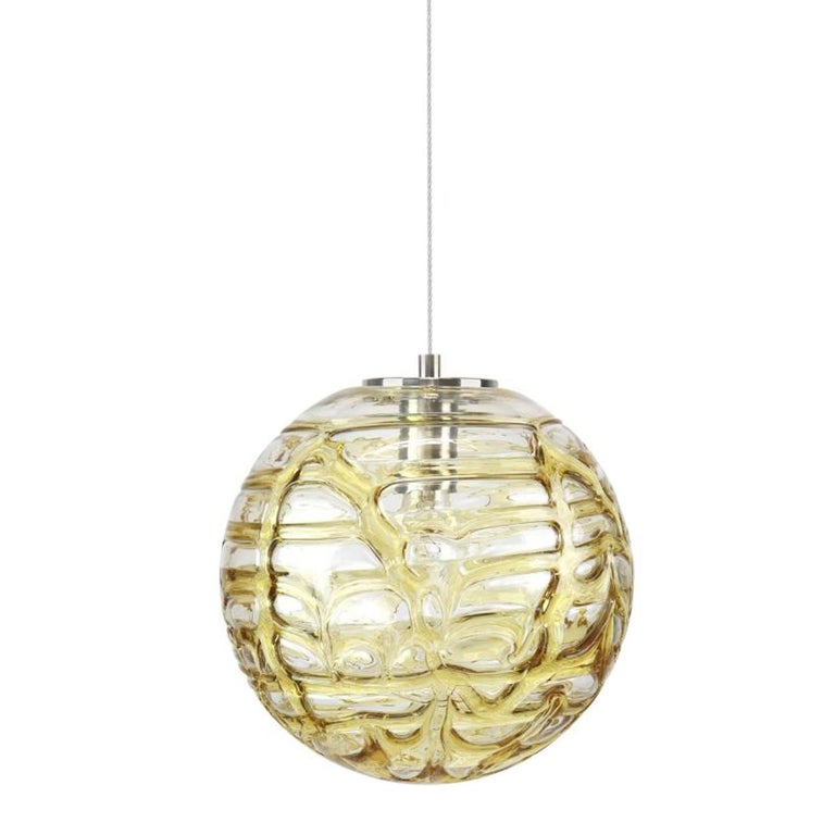 German Exceptional Set of 3 Murano Glass Pendant Lights Venini Style, 1960s For Sale