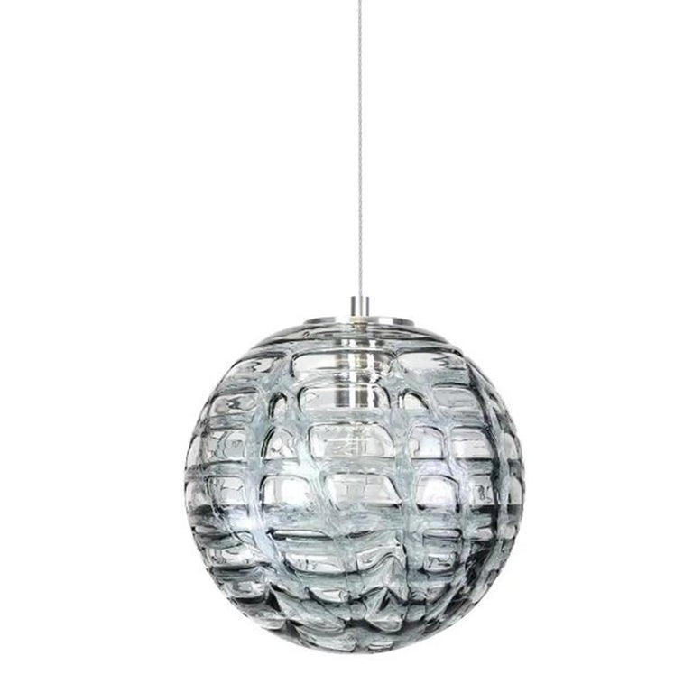 Exceptional Set of 3 Murano Glass Pendant Lights Venini Style, 1960s In Excellent Condition For Sale In Rijssen, NL