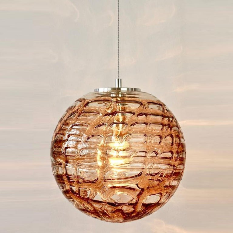 Steel Exceptional Set of 3 Murano Glass Pendant Lights Venini Style, 1960s For Sale