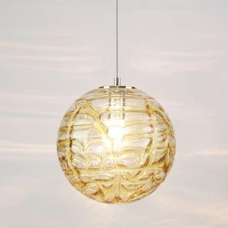 Exceptional Set of 3 Murano Glass Pendant Lights Venini Style, 1960s For Sale 1