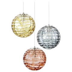 Exceptional Set of 3 Murano Glass Pendant Lights Venini Style, 1960s