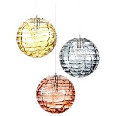 Exceptional Set of 3 Murano Glass Pendant Lights Venini Style, 1960s