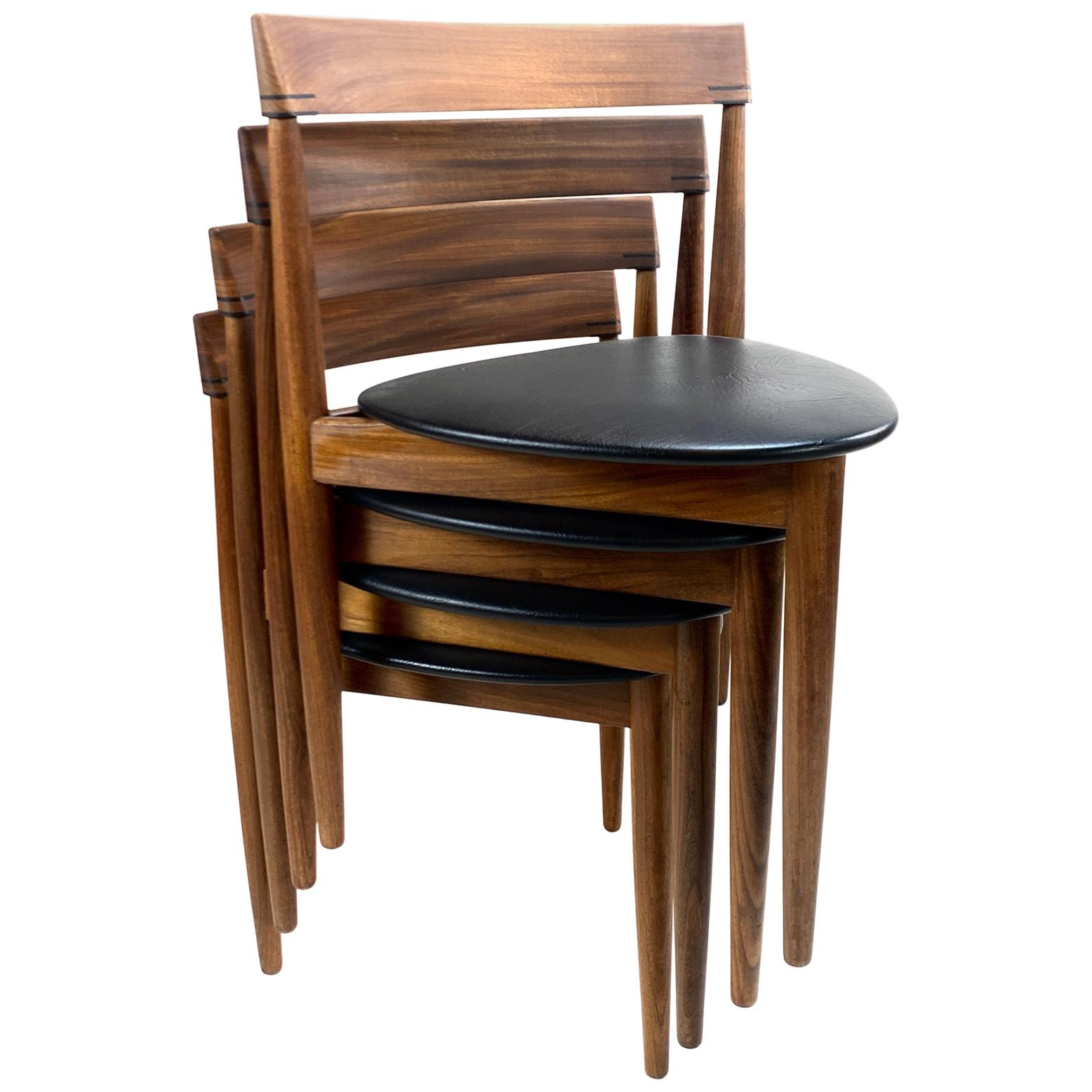 Exceptional Set of 4 Hans Olsen for Frem Røjle Walnut and Leather Dining Chairs