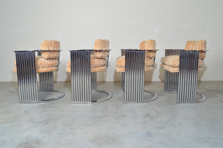 Amazing set of 4 exceptional barrel dining chairs by Milo Baughman for Thayer Coggin -1977 Original upholstery is in good vintage condition. Chrome is beautiful and has been cleaned.