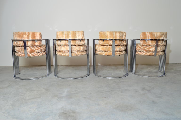 American Exceptional Set of 4 Milo Baughman for Thayer Coggin Chrome Barrel Dining Chairs For Sale