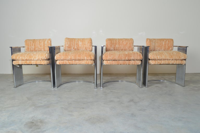 Exceptional Set of 4 Milo Baughman for Thayer Coggin Chrome Barrel Dining Chairs In Good Condition For Sale In Southampton, NJ