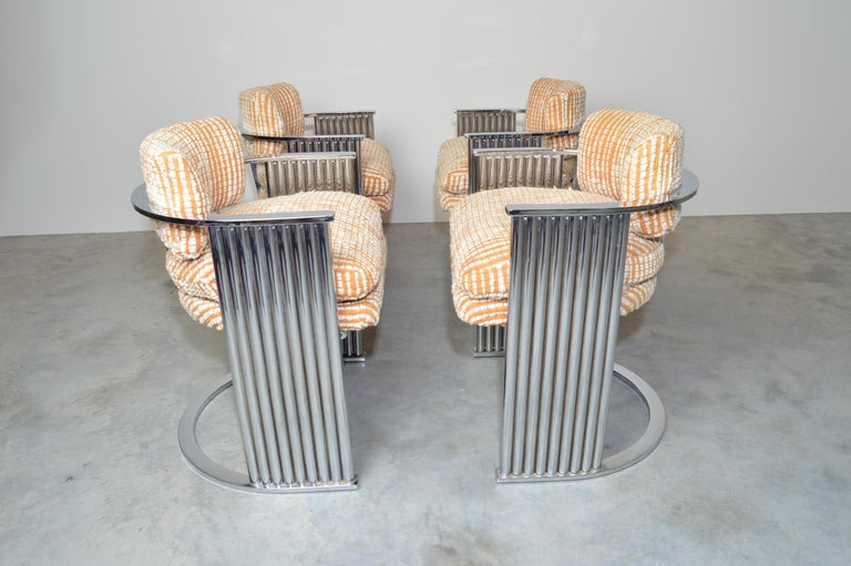 Late 20th Century Exceptional Set of 4 Milo Baughman for Thayer Coggin Chrome Barrel Dining Chairs For Sale