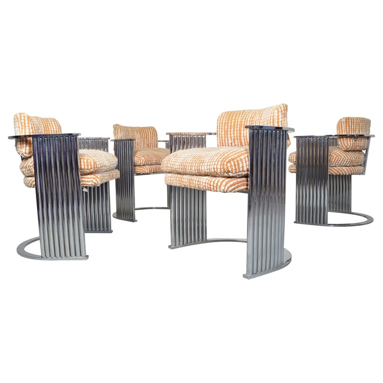 Exceptional Set of 4 Milo Baughman for Thayer Coggin Chrome Barrel Dining Chairs For Sale