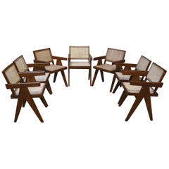 Exceptional Set of 7 Pierre Jeanneret Amchairs