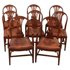 Exceptional Set of 8 English Hepplewhite Style Dining Chairs, circa 1880
