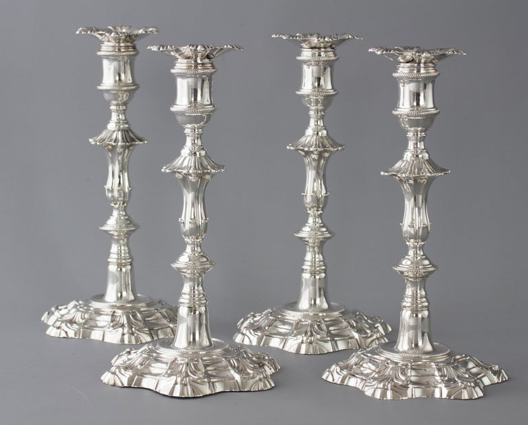 Georgian Exceptional Set of Four Silver Candlesticks London 1757 by William Cafe For Sale