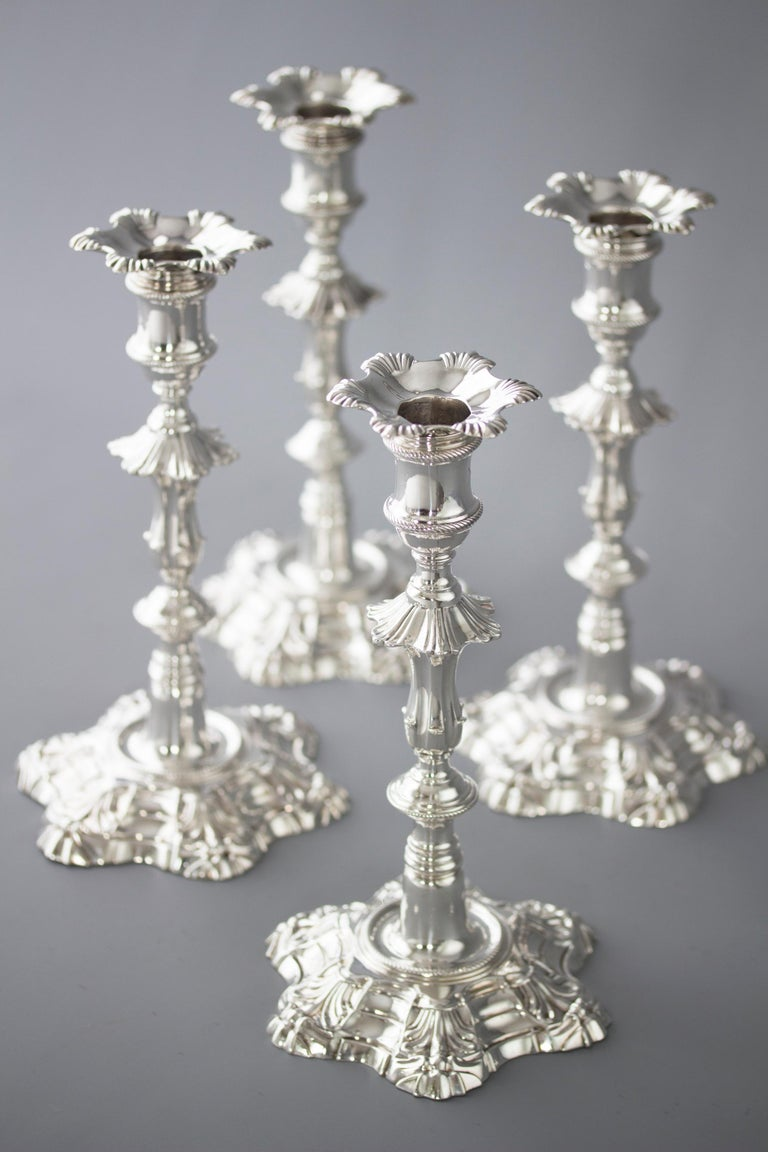 English Exceptional Set of Four Silver Candlesticks London 1757 by William Cafe For Sale