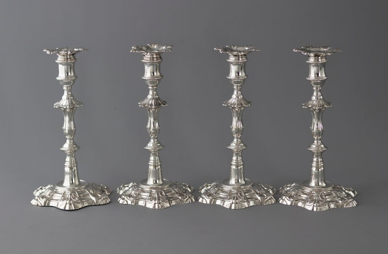 Exceptional Set of Four Silver Candlesticks London 1757 by William Cafe In Excellent Condition For Sale In Cornwall, GB