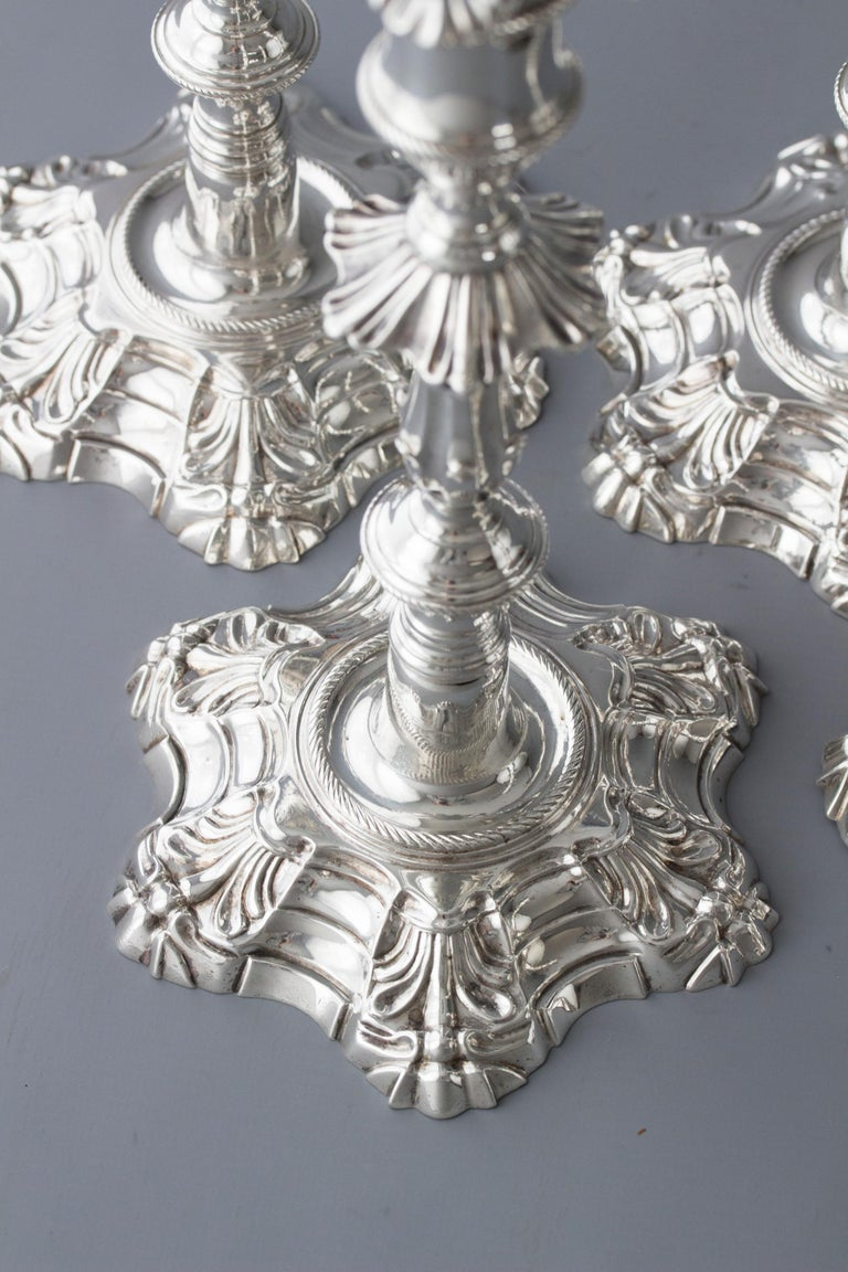 Exceptional Set of Four Silver Candlesticks London 1757 by William Cafe For Sale 2