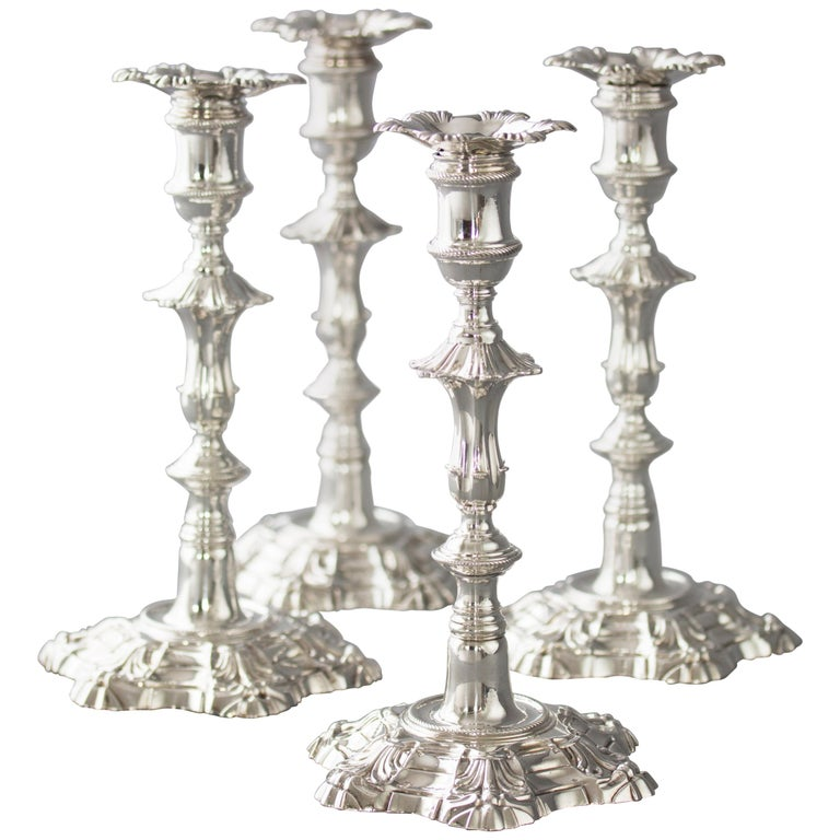Exceptional Set of Four Silver Candlesticks London 1757 by William Cafe For Sale