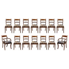 Exceptional Set of Fourteen, English Regency Dining Chairs in Mahogany