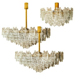 Exceptional Set of Three Brass and Glass Flush Mount /Chandelier by J.T. Kalmar