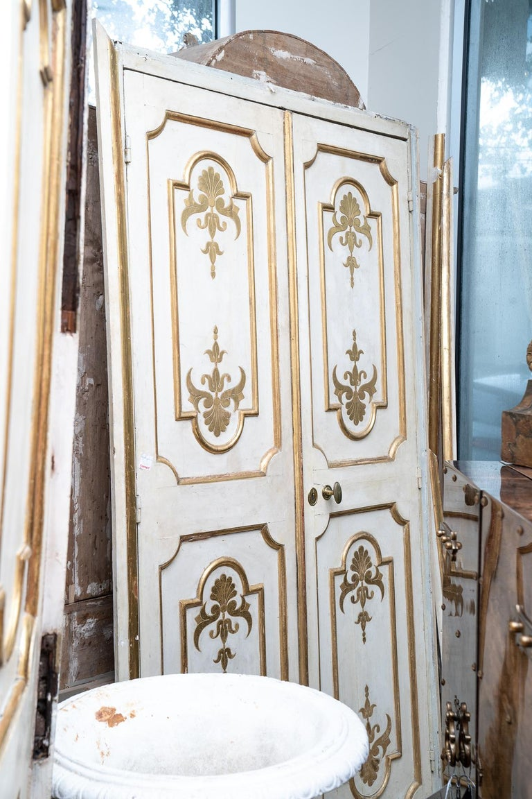 French Exceptional Set of Three-Gilded and Painted Pairs of Interior Doors For Sale