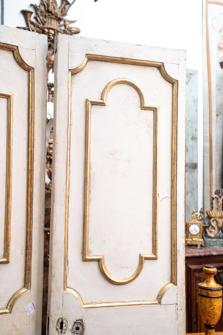 Exceptional Set of Three-Gilded and Painted Pairs of Interior Doors In Excellent Condition For Sale In New Orleans, LA