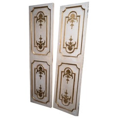 Exceptional Set of Three-Gilded and Painted Pairs of Interior Doors