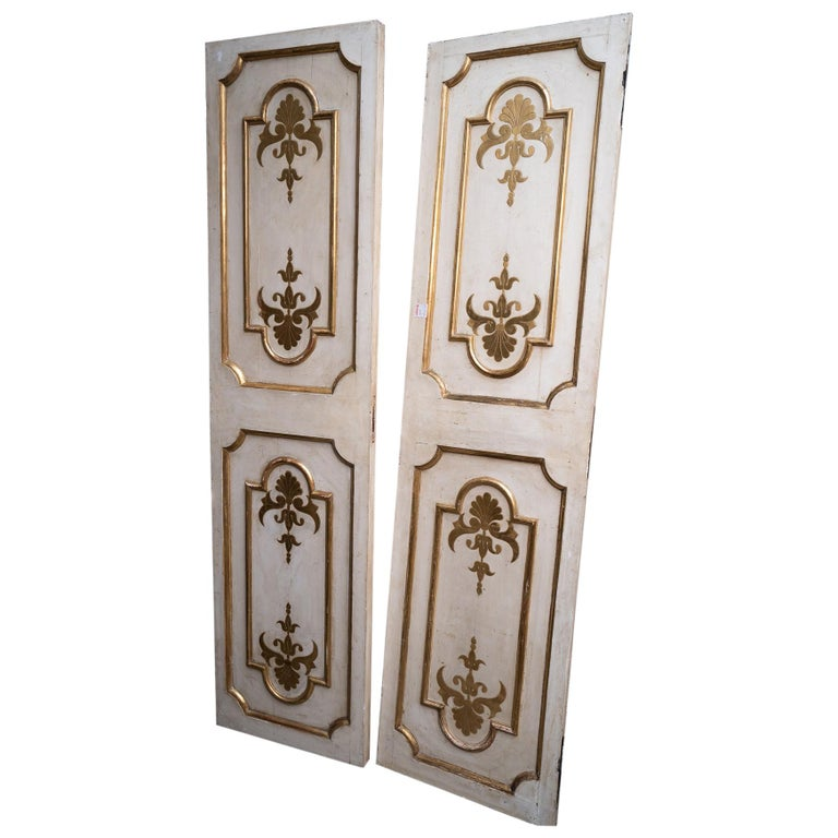 Exceptional Set of Three-Gilded and Painted Pairs of Interior Doors For Sale